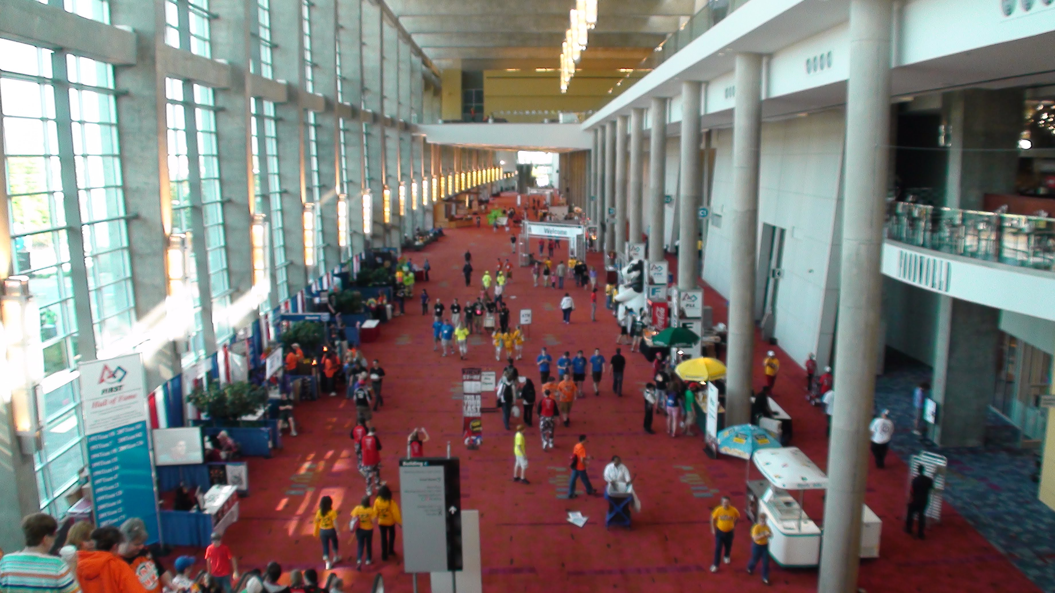 overview of a hallway at worlds in a convention center